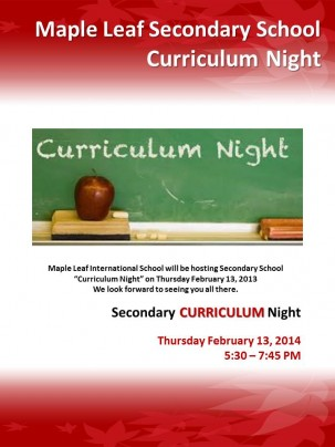 SECONDARY SCHOOL SEMESTER 2 CURRICULUM NIGHT