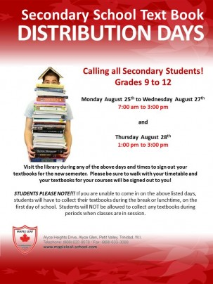 SECONDARY SCHOOL TEXTBOOK DISTRIBUTION DAYS