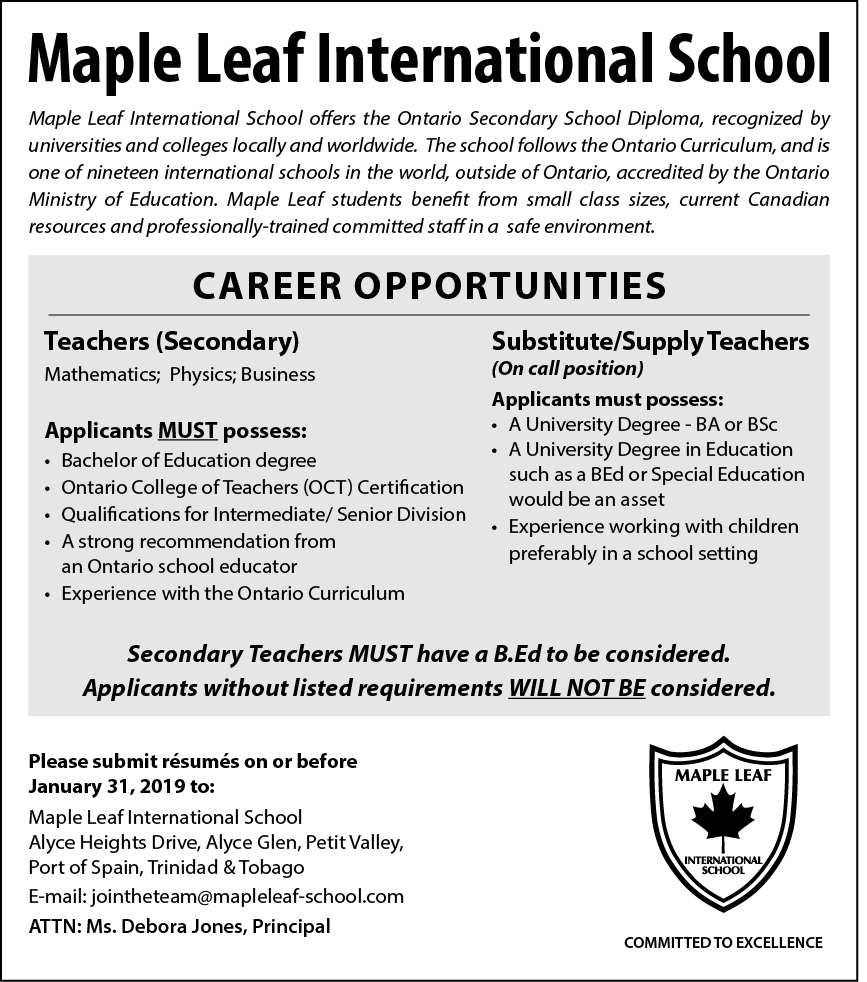 Career Opportunities Maple Leaf International School